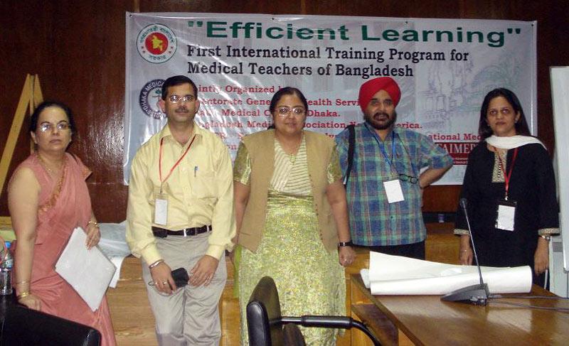 CMCL-FAIMER Regional Institute faculty conduct workshop in Bangladesh: Jugesh Chhatwal, Dinesh Badyal, Sheena Singh, Tejinder Singh, Harpreet Kapoor