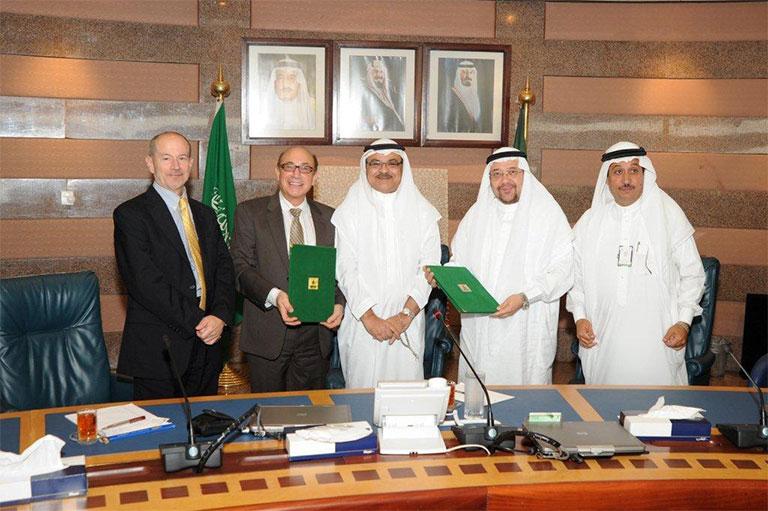 FAIMER President John Norcini, Ara Tekian, Osama Tayyeb, Mahmoud Al-Ahwal, and Adnan Al-Homaidan at King Abdulaziz University
