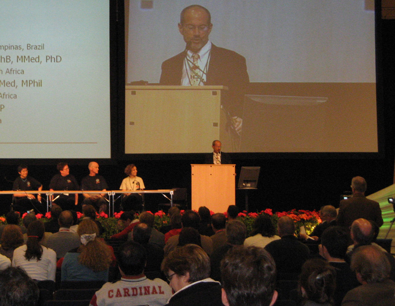 FAIMER President John Norcini and FAIMER Fellows Christina Tan, Juanita Bezuidenhout, David Cameron, and Eliana Amaral at the 2007 AMEE meeting