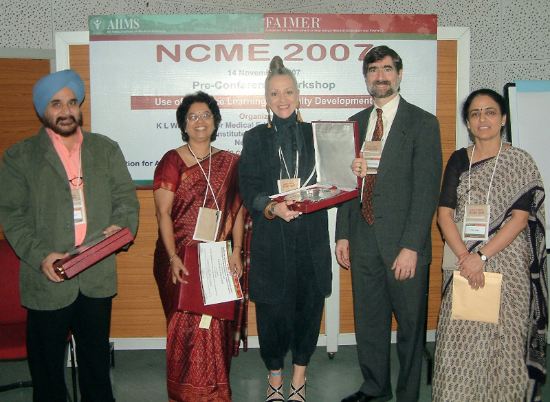 NCME 2007 distance learning faculty members Tejinder Singh, Medha Joshi, and Janet Grant, pictured with meeting planners Bill Burdick and Rita Sood