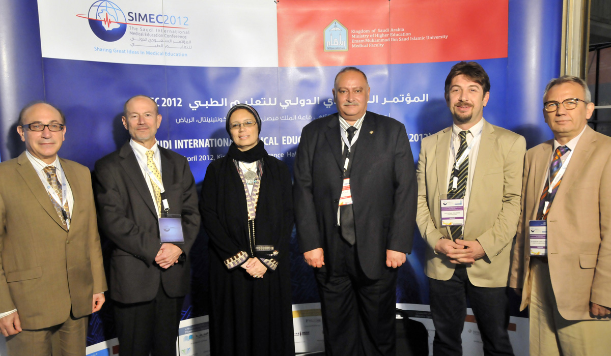 FAIMER faculty members and Fellows at the 2012 Saudi International Medical Education Conference: Ara Tekian, John Norcini, Omayma Hamed, Wagdy Talaat, Ayhan Caliskan, and Huseyin Cahit Taskiran